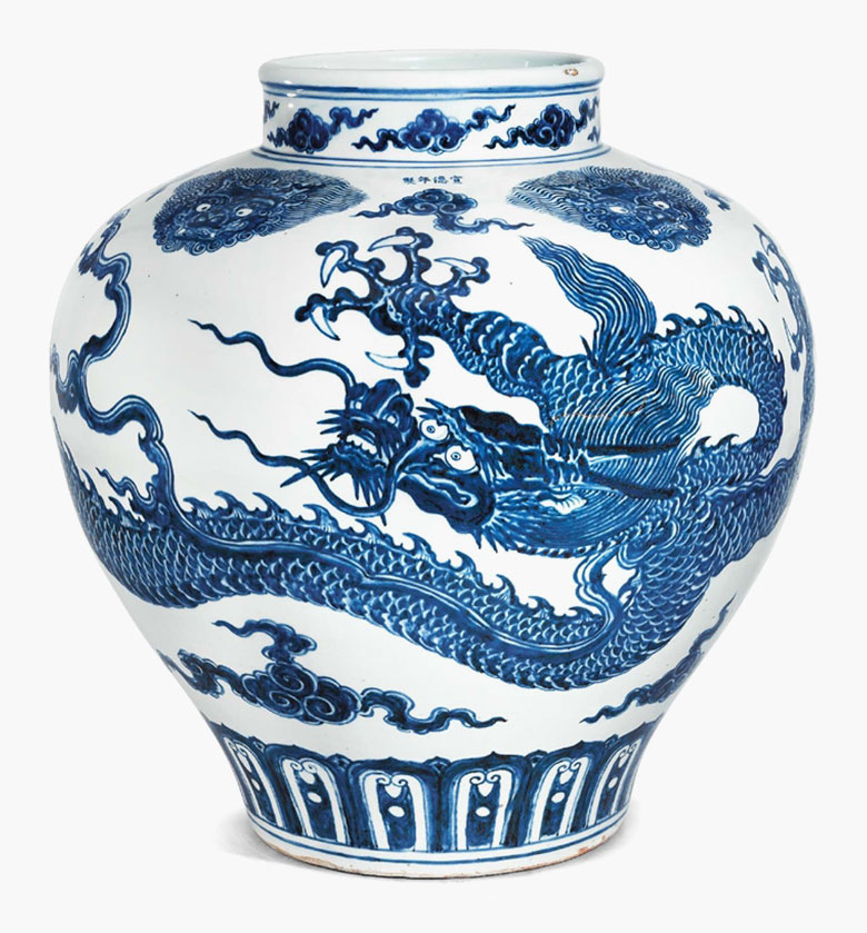 Xuande four-character mark in underglaze blue and of the period (1426-1435).